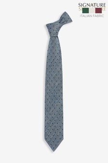 'Made In Italy' Signature Navy Spot Silk Mix Tie