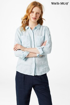 White Stuff Blue Roller Linen Shirt