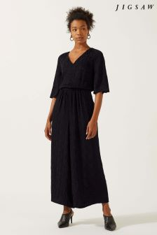 Jigsaw Black Jacquard Jumpsuit