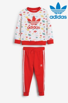 adidas Originals Little Kids Red Printed Crew Neck Top And Joggers Set