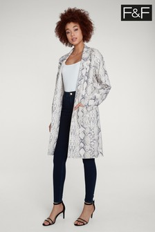 F&F Multi Snake Suedette Duster Coat