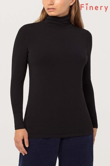 Finery London Black Suna Cashmere Mix Tee