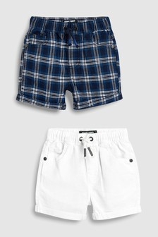 Linen Blend Pull-On Shorts Two Pack (3mths-7yrs)