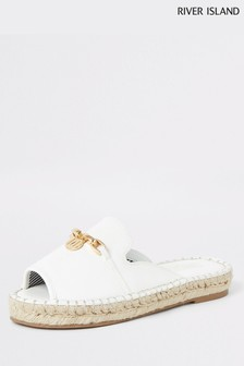 River Island White Backless Espadrille Loafer