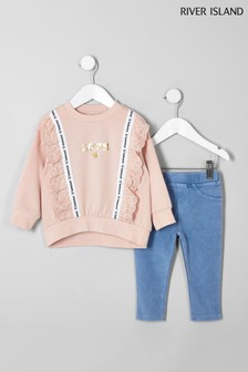 River Island Coral Lace Trim Sweat And Jegging Set