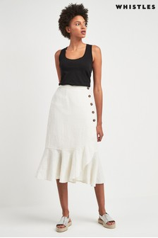 Whistles White Linen Button Frill Skirt