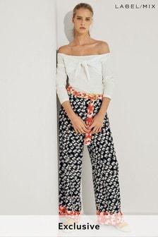 Next/Mix Floral Print Wide Trouser
