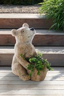 BEAR PLANT STAND 20 INCH  STATUE NEW YARD GARDEN HOMR DECOR FREE SHIPPING