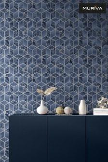 Muriva Blue Elixir Cube Wallpaper