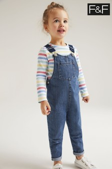 F&F Denim Dungarees & T-Shirt Set
