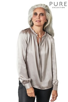 Pure Collection Silver Silk Satin Utility Blouse