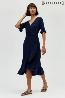 Warehouse Blue Long Line Tea Dress