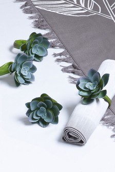 Set of 4 Faux Succulent Napkin Rings