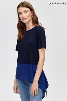 Warehouse Blue Colourblock Woven Mix Top