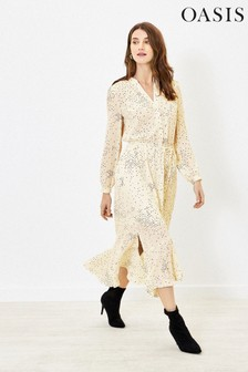 Oasis Natural Spot Dip Hem Shirt Dress