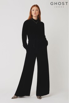 Ghost London Black Esther Silk Velvet Jumpsuit