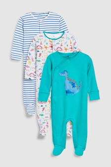 Dinosaur Character And Stripe Sleepsuits Three Pack (0mths-2yrs)