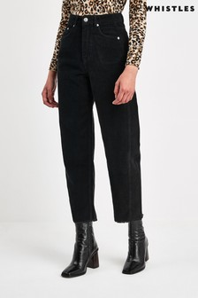 Whistles Black High Waisted Corduroy Barrel Jeans