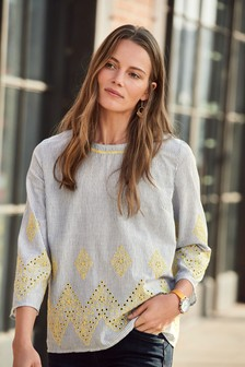 Long Sleeve Broderie Top