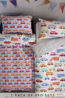 2 Pack Retro Transport Duvet Cover and Pillowcase Set