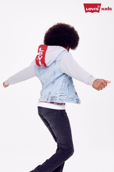 Levi's® Kids Light Wash Hooded Denim Jacket
