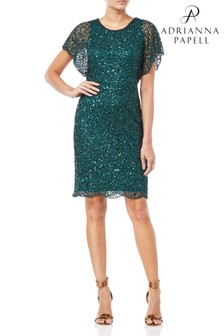 Adrianna Papell Flutter Sleeve Bead Dress