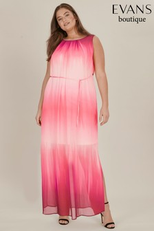 Evans Pink Curve Ombre Maxi Dress