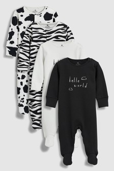 Animal Print/Slogan Sleepsuits Four Pack (0mths-2yrs)