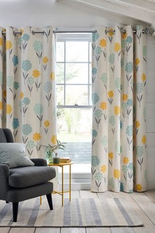 Illustrated Floral Eyelet Curtains