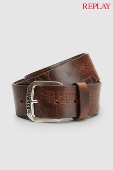 Replay® Embossed Leather Belt
