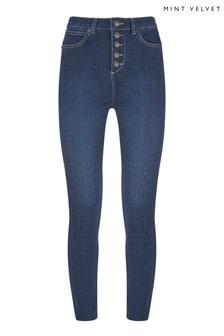 Mint Velvet Joliet Skinny Jeans mit Kontrastnaht, Blau