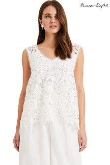 Phase Eight White Aleah Lace Blouse