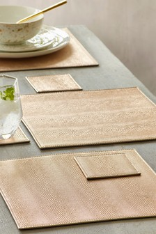 Set of 4 Textured Placemats And Coasters