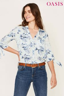 Oasis Natural Paradise Palm Viscose Shirt