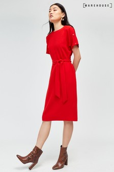Warehouse Bright Red Button Detail Wiggle Dress
