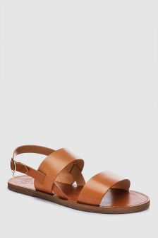 Dune Tan Leather Lopez Strap Flat Sandal