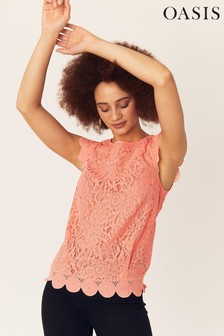 Oasis Red Lace Broderie Trim Top