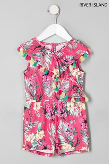 River Island Pink Tropical Frill Playsuit
