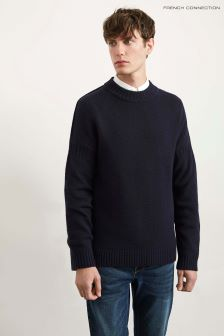 French Connection Blue Wool Fisherman Jumper