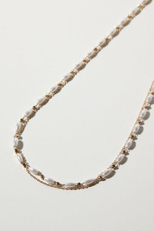 Oliver Bonas White Willow Faux Pearl & Bead Double Row Chain Necklace