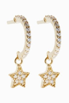18 Carat Gold Plated Pave Star Charm Hoop Earrings