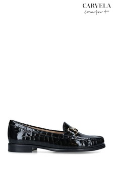 Carvela Black Click Croc Print Loafers