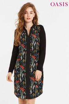 Vestido camisero de lana con diseño de flores en negro de Oasis