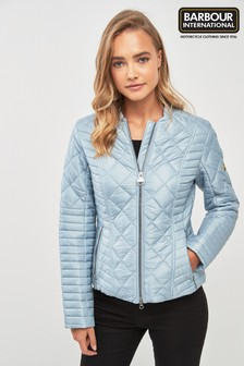 Barbour®International Blue Lightweight Biker Quilt Jacket