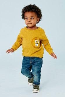 Джемпер с круглым вырезом и изображением льва на кармане (3 мес.-7 лет)