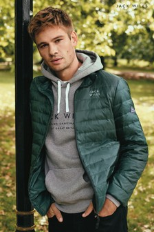 Jack Wills Dark Green Nevis Lightweight Down Jacket
