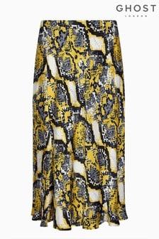 Ghost London Animal Laila Snakeskin Satin Skirt