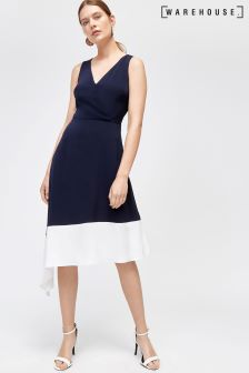 Warehouse Blue Colourblock Dress