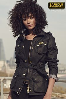 Barbour® International Black Waxed Iconic Biker Jacket