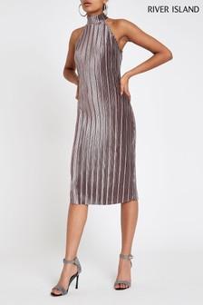 שמלת מיני בגזרת בודיקון מקטיפה של River Island בצבע כסף
